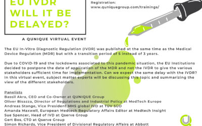 EU IVDR – Will it be delayed? with  Amanda Maxwell, Bassil Akra, Oliver Bisazza, Andreas Stange, Manoja Ranawake, Simon Richards, Sue Spencer, Gert Bos, 17.08.2020