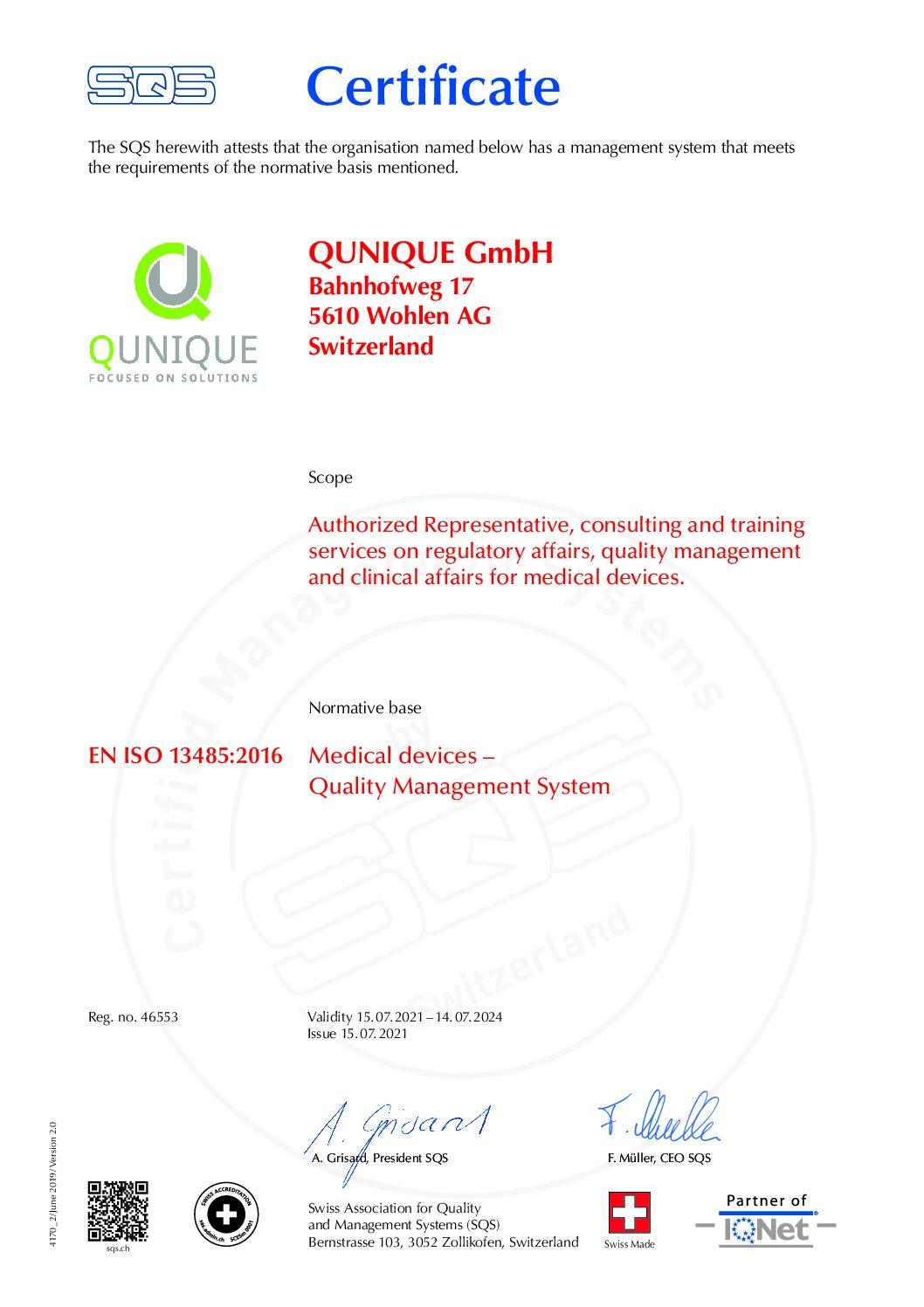 Certificate SQS Zertifiziertes Managementsystem EN ISO 13485