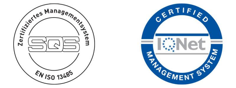 Logo IQ Net Certified Management System and SQS Zertifiziertes Managementsystem EN ISO 13485